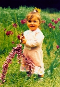 Child, Baby,Spring, Springtime,,Flower,Colour Comparator,Green,Grass,,Branch,Pink, Rose-coloured